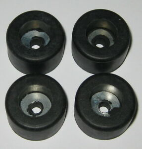 """4 X Heavy Duty Unthreaded Bumper w/ Metal Washer -  1"""" Dia. X 5/8""""  - 3/16"""" Hole"""