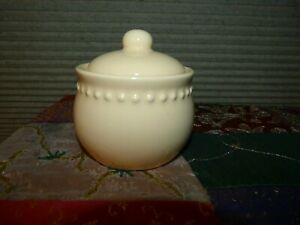 Pottery Barn Emma Yellow Beaded Sugar Bowl & Lid