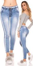 Trendy Denim Jeansblau - Streifen weiss Fashion Jeans L XL 40 42 Damen Schnürung