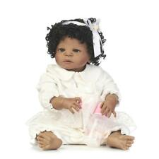 "23"" African American Baby Doll Black Girl Full Body Silicone Reborn Baby Alive"