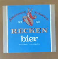 VINTAGE GERMAN BEER LABEL - SCHLOBBRAUREI RECKEN BIER