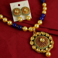 Indian Traditional Necklace Earring Bridal Stud Pearl Goldplate Wedding Neckalce