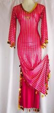 Light Pink Gold Galabeya Egyptian Belly Dance Maxi Long Dress O/S S M L XL