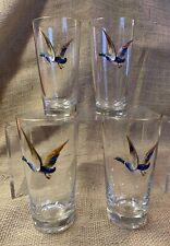Vintage Drinking Glasses with Painted Mallard Ducks Gold Rim - Set of 4