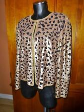 ADRIANNA PAPELL Leopard Silk Sequin Embroidery sz L Evening Formanl dress JACKET