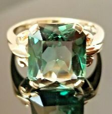 Vintage Green Fancy Cut Tourmaline 14k yellow gold ring  SZ  6.5