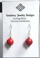 Sterling Silver Sponge CORAL Gemstone Dangle Earrings #2151...Handmade USA