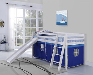 Kids Bunk Bed Mid Sleeper with Slide and Ladder Wooden Cabin Bed Tent