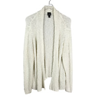 Eileen Fisher Womens Boucle Knit Cardigan Plus Size 1X Ivory Open Front Sweater