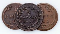 1812-1844 Swiss Cantons 1 & 2 Rappen Coin lot of 3 (VF-AU)