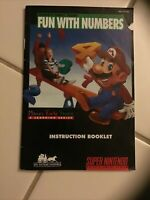 Mario's Early Years Fun With Numbers Instruction Booklet Super Nintendo SNES