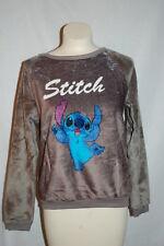 Womens GRAY Sweatshirt STITCH Disney Lilo & Stitch SUPER SOFT FLEECE Crew M 8-10