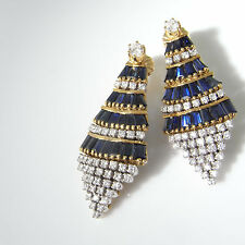 Art Deco Sapphire Diamond Earrings 1940s 18K Gold Earring Jackets Gatsby Jewelry