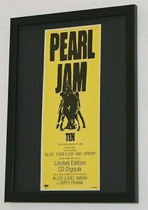 PEARL JAM Framed A4 1991 ` TEN ` ALBUM original band promo ART poster