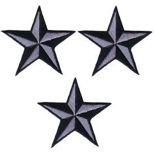 "Nautical Star Applique Patch - Gray/Black Tattoo Badge 2"" (3-Pack, Iron on)"