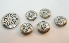"""Vintage Western Sterling Silver 5/8"""" Button Covers Set of 6 Vintage Jewelry"""