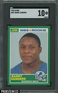 1989 Score Football #257 Barry Sanders Lions RC Rookie HOF SGC 10 GEM MINT