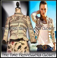 KATE MOSS TOPSHOP Cream Black Embroidered Aztec Pinstripe Jacket Victoriana UK10