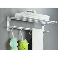 Space Aluminum Double Towel Rack 24 Inch Wih 5 Hooks Towel Bar Bathroom Shelves