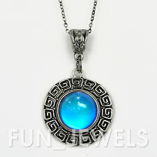 New Vintage Round Mood Necklace Multi Color Change Stone retro Free Bag&Chart