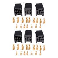 6pcs 80A 5 Pin Automotive Car Power Relay Socket with Terminals Assortment