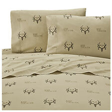 Bone Collector Queen Sheet Set Michael Waddell Tan Brown Deer Antlers Skull 4pcs