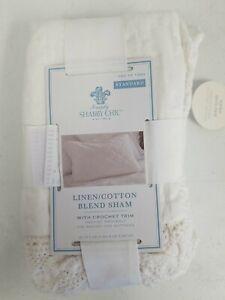 NEW Simply Shabby Chic White Crochet Trim Linen Blend Standard Pillow Sham