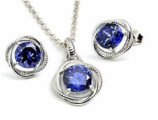 Tanzanite 8mm Infinity Necklace/Earrings Set, Sterling Silver