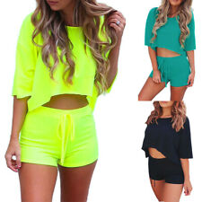 Womens Summer Tracksuits Cropped Tops+Shorts Set Lounge Wear Sports Casual Suits