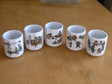 """Group of 5 Ten Sided Porcelain Sake Cups Different Occupational Scenes 2"""" tall"""