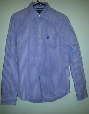 American Eagle long sleeve button down Small blue with stripes