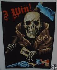 VINTAGE ANNI 80 GRANDE DA CUCIRE TOPPA : bikers.' I WIN '/ MORTE