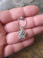 "Ring Tragus 16 Gauge 1/2"" Silver Ganesha Elephant Cartilage Piercing Captive"