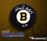 JOHN MCKENZIE Signed Boston Bruins Puck