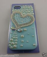 for Iphone 5  phone case bluish green Heart  bling Claires fits i phone 5 pretty