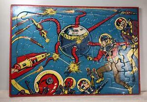 Vintage 1950's Milton Bradley Rocket Ship Spaceman Spacecraft Tray Puzzle