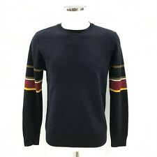 NEW WHISTLES Navy Blue Striped Sleeve Fine Knit Wool Jumper Size UK M 141360W