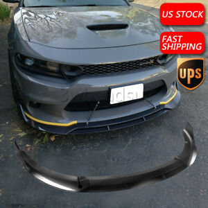 For  Dodge Charger SRT 15-21 V2 Style Front Bumper Lip Splitter CARBON FIBER