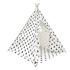 New Large Kid Teepee Tent Children Home Canvas Pretend Play Outdoor/Indoor White