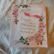 Vintage Mother's Day Card, Norcross 25MD907, SISTER-IN-LAW Pink Roses, Ribbon