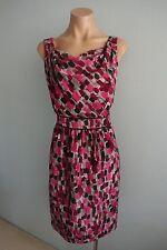 Sportscraft Sleeveless Drape Neck Dash print Silk Dress sz 10