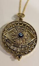 """30"""" TO 33"""" LONG ANTIQUE GOLD PLATED EVIL EYE MAGNIFYING GLASS NECKLACE"""