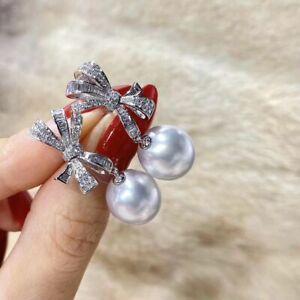 elegant 10-11mm south sea round white pearl earring 925s
