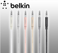 GENUINE Belkin Metallic Stereo 3.5mm to 3.5mm AUX Audio Speaker Cable 1.2m 4ft