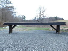 Antique 1890s Primitive Mortised Pegged Old Nails Wood Park Bench Nicktown Pa