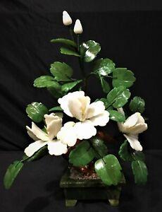 "13"" White Jade Bonsai Flowers (202-3a) - On Sale"