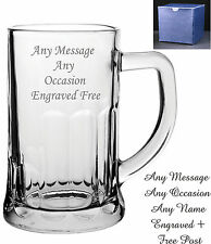 Personalised Engraved Abbey Glass Pint Tankard Birthday Gift 18th 21st 30th 40th