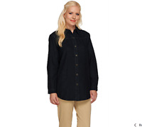 Joan Rivers Classic Denim Boyfriend Shirt with Pockets Size S Indigo Color