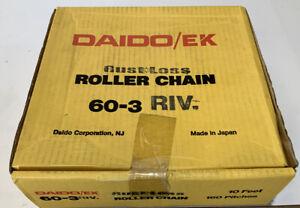 DAIDO/EK  60-3 RIV  3 STRAND STAINLESS ROLLER CHAIN 10 FEET 160 PITCHES 3 STRAN