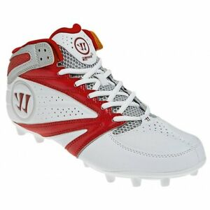NEW Mens Warrior 2nd Degree 3.0 Lacrosse Mid Cleats White / Red Sz 14 M